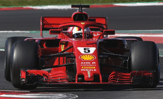 Ferrari driver Sebastian Vettel of Germany steers his car during a Formula One pre-season testing session in Montmelo, outside Barcelona, Spain, Wednesday, March 7. (AP Photo/Manu Fernandez)