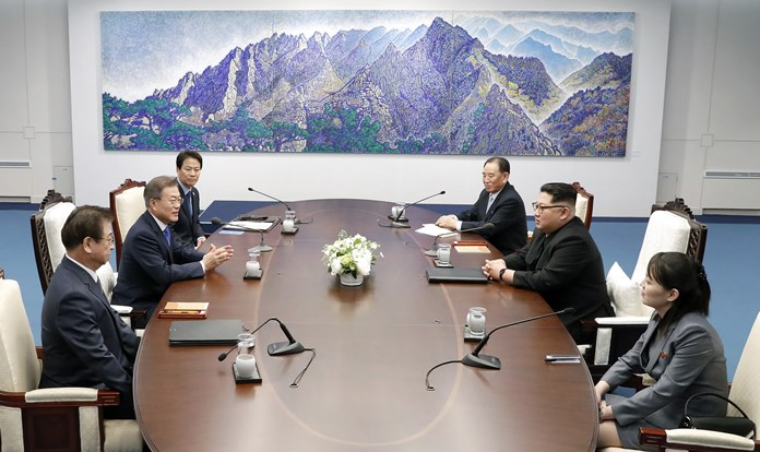 North Korean leader Kim Jong Un, second from right, and South Korean President Moon Jae-in, second from left, attend during a summit at Peace House of the border village of Panmunjom in the Demilitarized Zone, South Korea, Friday, April 27, 2018. At right is Kim's sister Kim Yo Jong. (Korea Summit Press Pool via AP)