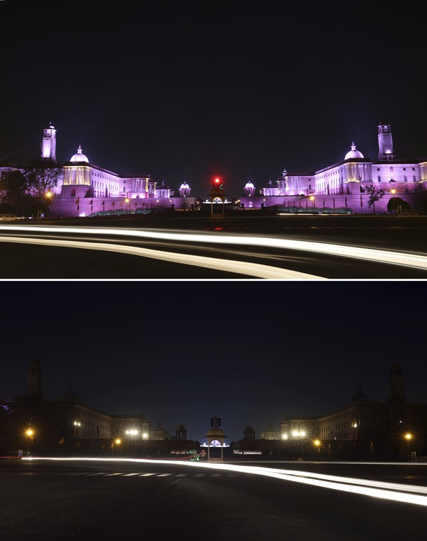 In this two photo combination picture, buildings that house India's seat of power are seen lit, top, and then the same location in darkness when the lights are turned out for one hour to mark Earth Hour, in New Delhi. (AP Photo/Oinam Anand)