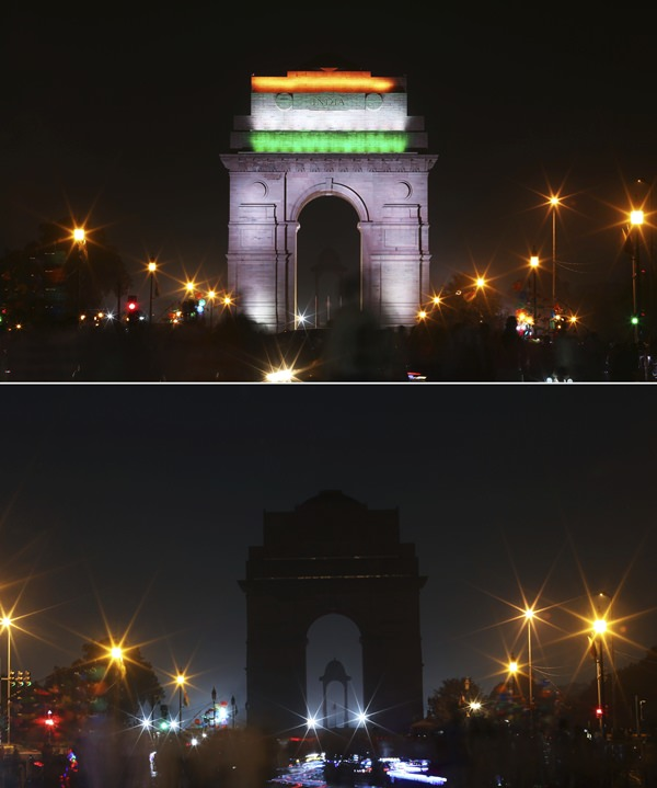 In this two photo combination picture, the landmark India Gate monument is seen lit, top, and then the same location in darkness when the lights are turned out for one hour to mark Earth Hour, in New Delhi, India, Saturday, March 24, 2018 (AP Photo/Oinam Anand)
