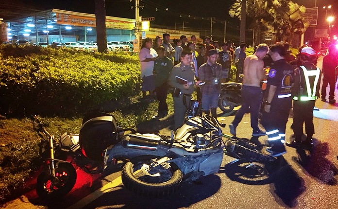 Russian Oleg Volobujev crashed his motorcycle into rescuers assisting others in a different motorbike crash in Pattaya.