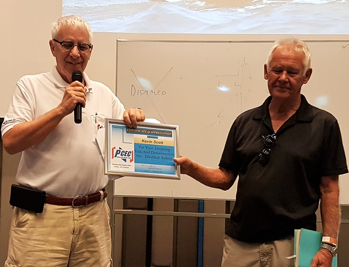 MC Richard Silverberg presents Kevin Scott with the PCEC's Certificate of Appreciation for his enlightening presentation.