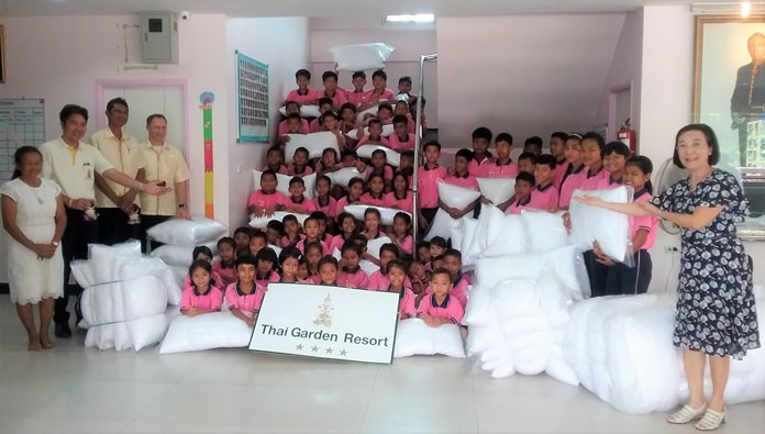 The Thai Garden Resort donated 150 pillows to children under the care of the Human Help Network Foundation to soften both beds and the charity's expenses line.