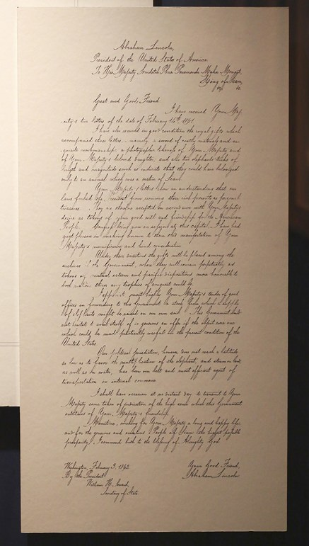 "A letter written by U.S. President Abraham Lincoln in 1862 replying to Thailand's King Mongkut is on display at the exhibition ""Great and Good Friends,"" inside Grand Palace Bangkok. (AP Photo/Sakchai Lalit)"