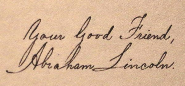 The signature of U.S. President Abraham Lincoln at the end of his letter in reply to Thailand's King Mongkut in 1862. (AP Photo/Sakchai Lalit)