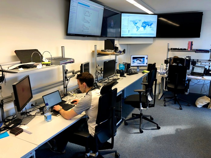 This March 29, 2018 file photo shows the Space Debris Room of the European Space Agency ESA in Darmstadt, Germany. China's defunct Tiangong 1 space station re-entered Earth's atmosphere around 8:15 a.m. Monday, April 2 Beijing time, the China Manned Space Engineering Office said. (AP Photo/Christoph Noelting, File)