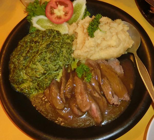 Traditional English lamb and mashed potatoes.