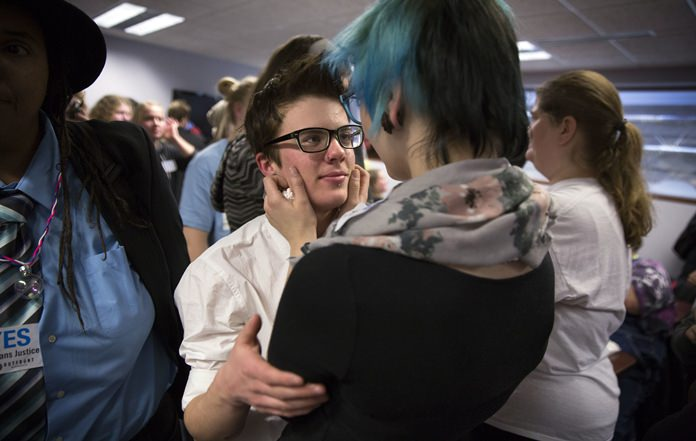 A study released Monday, Feb. 5, 2018, from an analysis of a 2016 statewide survey of nearly 81,000 Minnesota teens, suggests that far more U.S. teens are transgender or gender nonconforming than previously thought, with many rejecting the idea that girl and boy are the only possible genders. (Leila Navidi/Star Tribune via AP)