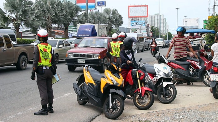 Checkpoints have been established throughout the area to check for drunk drivers, motorcyclists without helmets and drivers without licenses – all of which contribute to Thailand's appalling highway fatality rate during every Songkran.