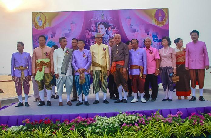 Mayor Anan Charoenchasri and Mana Yaprakham, chairman of Pattaya's Cultural Council, begin the Thai Heritage Conservation Day parade to celebrate HRH Princess Maha Chakri Sirindhorn's birthday.