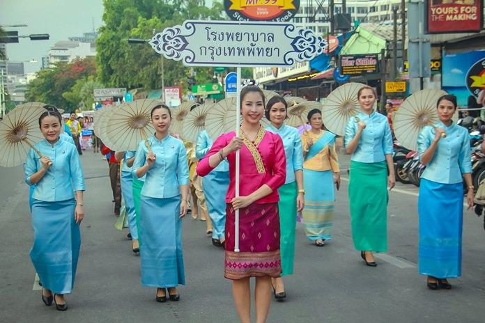 Representatives from Bangkok Hospital Pattaya look smart in their traditional outfits.