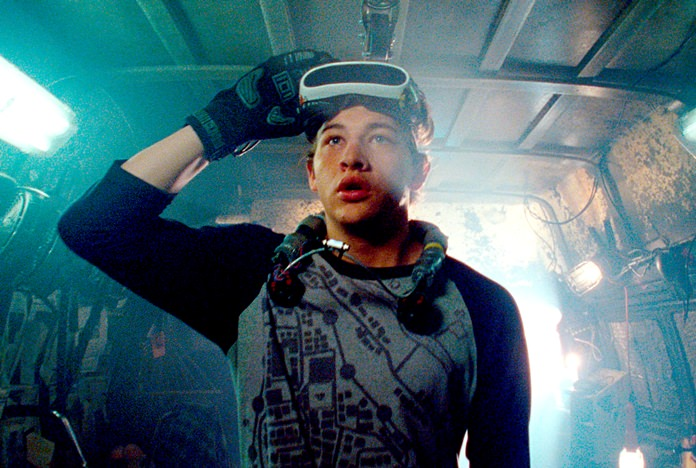"This image shows Tye Sheridan in a scene from ""Ready Player One,"" a film by Steven Spielberg. (Warner Bros. Pictures via AP)"