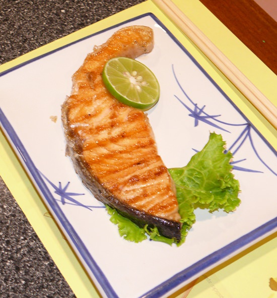 A thick salmon steak.