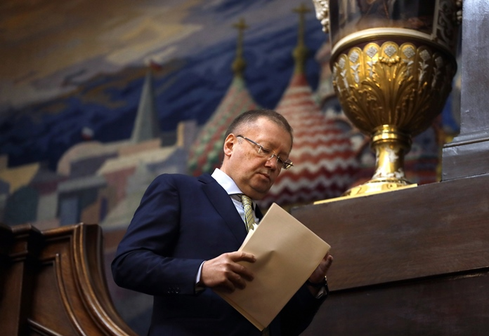 Russian Ambassador Alexander Yakovenko arrives for a press conference at his residence in London, Friday, April 13. (AP Photo/Kirsty Wigglesworth)