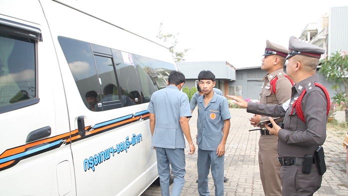 Police officers carry out vehicle checks in central Pattaya, April 11.