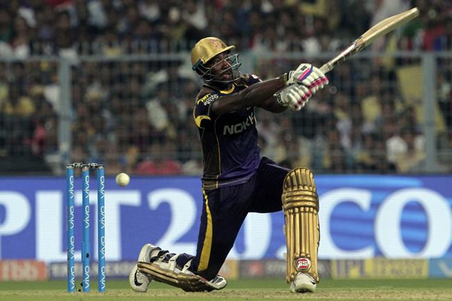 Kolkata Night Riders' Andre Russel hits out during VIVO IPL cricket T20 match against Delhi Daredevils in Kolkata, India, Monday, April 16. (AP Photo/Bikas Das)