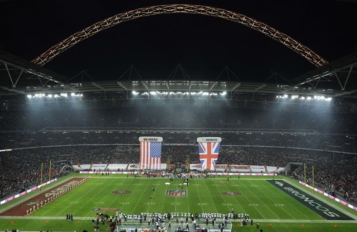 Wembley Stadium in London is shown in this Sunday Oct. 31, 2010 file photo, ahead of an NFL Football match between the Denver Broncos and San Francisco 49ers. (AP Photo/Dave Shopland, Pool)
