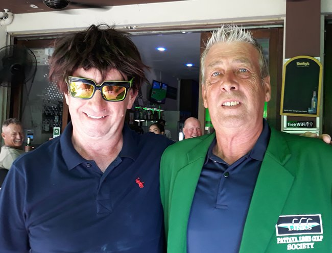 """Paul Chesney (right) with """"wig"""" wearer Martin Patch."""