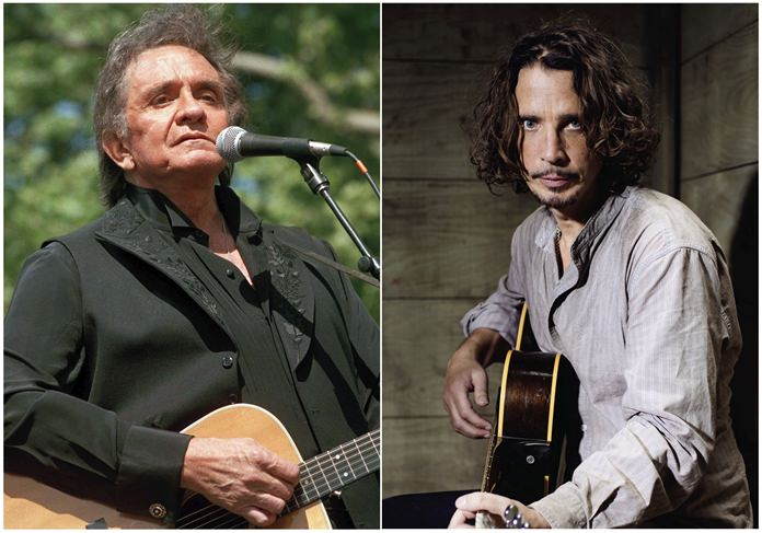 In this combination photo, Johnny Cash (left) performs at a benefit concert in Central Park in New York on May 23, 1993, and Chris Cornell (right) plays guitar during a portrait session at The Paramount Ranch in Agoura Hills, Calif., on July 29, 2015. (AP Photo/Joe Tabacca, File)
