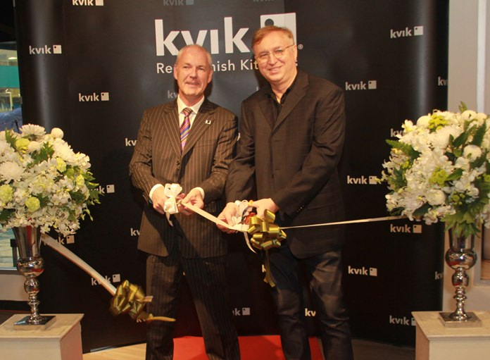 Mr. Iain Flitcroft, master franchise for Kvik Asia and Mr. Jacek Paruch, MD of Kvik jointly declare the business open.
