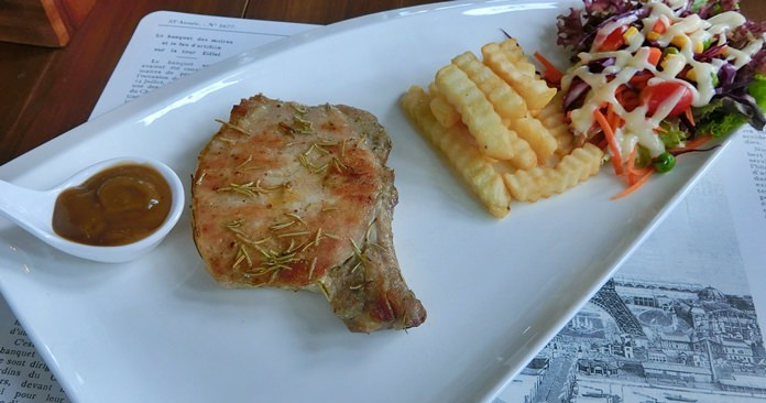 A good sized pork steak.