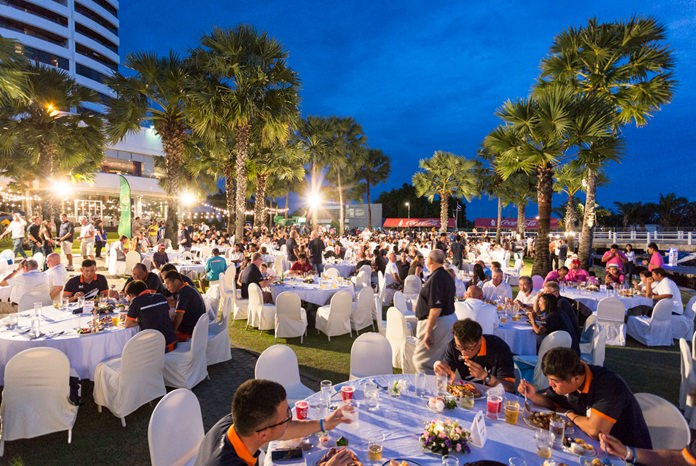 Sailors and guests enjoy the end of regatta gala dinner at Ocean Marina Yacht Club.