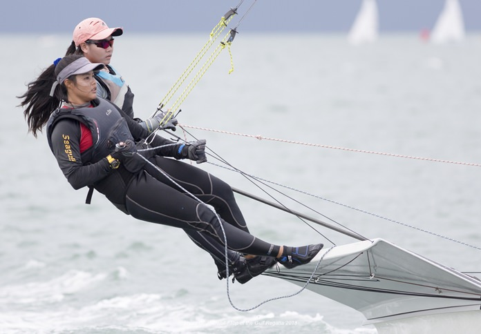 Double-handed monohull dinghies always provide some spectacular action.