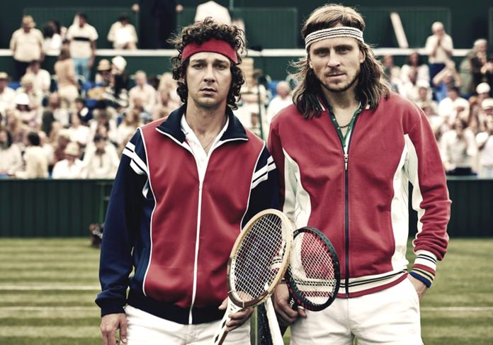 "This image shows Shia LaBeouf as John McEnroe (left) and Sverrir Gudnason as Bjorn Borg in a scene from the film ""Borg vs McEnroe."" (Neon via AP)"