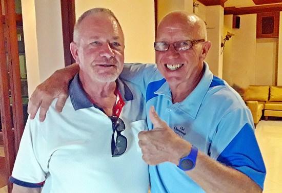 Barry Elphick (left) with John Davis.