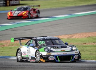 Thai driver Sandy Stuvik steers his Porsche 911 GT3 R at the Chang International Circuit in Buriram, Sunday, May 13.