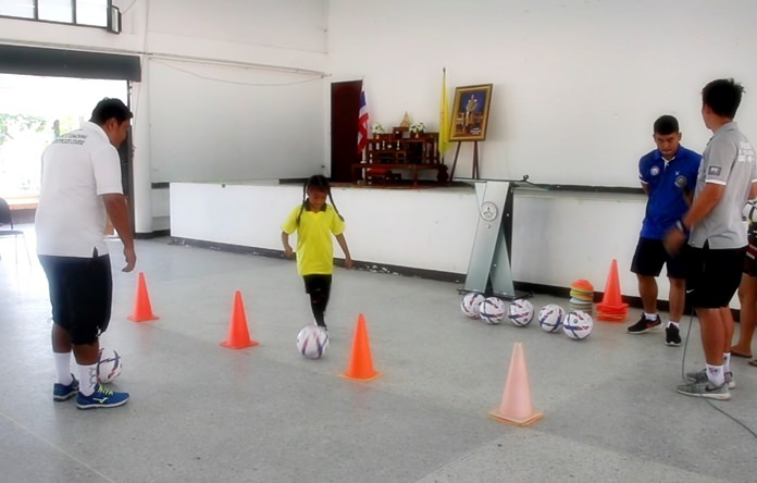 A future soccer star goes through her paces.
