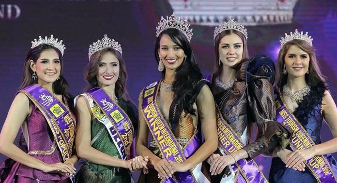 Camilla Reis Cavalcanti Gois (Brazil), is crowned Miss Tourism Queen International 2018. She is flanked by Victoria Romanova (Tatarstan) 1st runner-up, Rachel Corinne Nimegeers (Belgium) 2nd runner-up, Andrea-Sinziana Sirghi (Romania) 3rd runner-up and Chatrthira 'Morgane' Michas (Thailand).