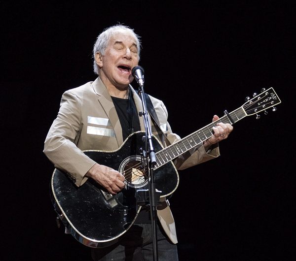 Paul Simon is shown performing in Vancouver, British Columbia, May 16, 2018. (Jimmy Jeong/The Canadian Press via AP)