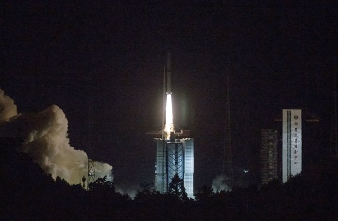 China has launched a relay satellite as part of a groundbreaking program to land a probe on the far side of the moon this year. The China National Space Administration said on its website that the satellite lofted into space early Monday, May 21, aboard a Long March-4C rocket will facilitate communication between controllers on Earth and the Chang'e 4 mission. (Cai Yang/Xinhua via AP)
