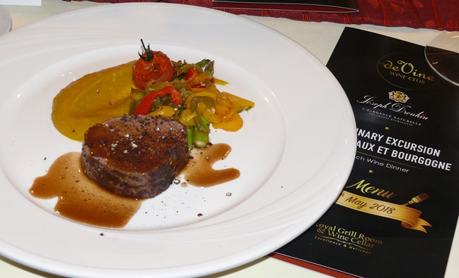 The Roasted Angus beef tenderloin was paired with a Beaujolais Villages Joseph Drouhin 2014.