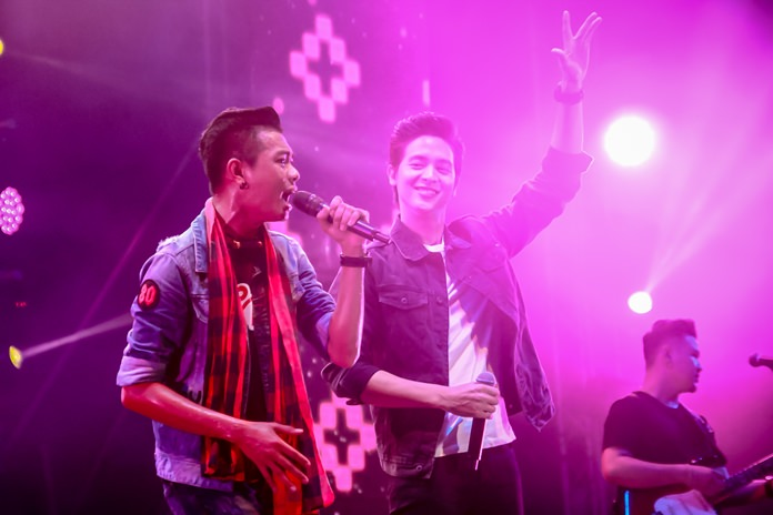 Zack Chumpae (left) goes up against James Jirayu in a music battle. The live streams for the night reached up to 250,000 views.