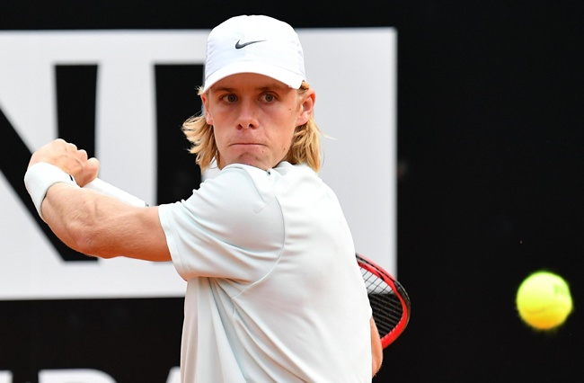 Denis Shapovalov, of Canada, returns a ball to Tomas Berdych, of Czech Republic, during the Italian Open tennis tournament, in Rome, Tuesday, May 15. (Ettore Ferrari/ANSA via AP)