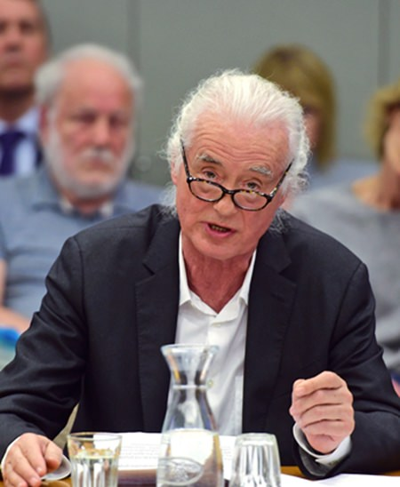 Led Zeppelin guitarist Jimmy Page speaks out during a planning permission meeting at Kensington Town Hall, in London, Tuesday May 29. (David Mirzoeff/PA via AP)