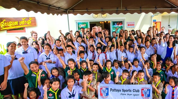 "Chai Yo! The students give a hearty ""Thank you"" to the Pattaya Sports Club."