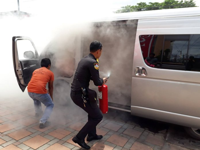 There were a few tense moments when a passenger van caught fire near the Caltex Gas Station on Sukhumvit Road in South Pattaya.