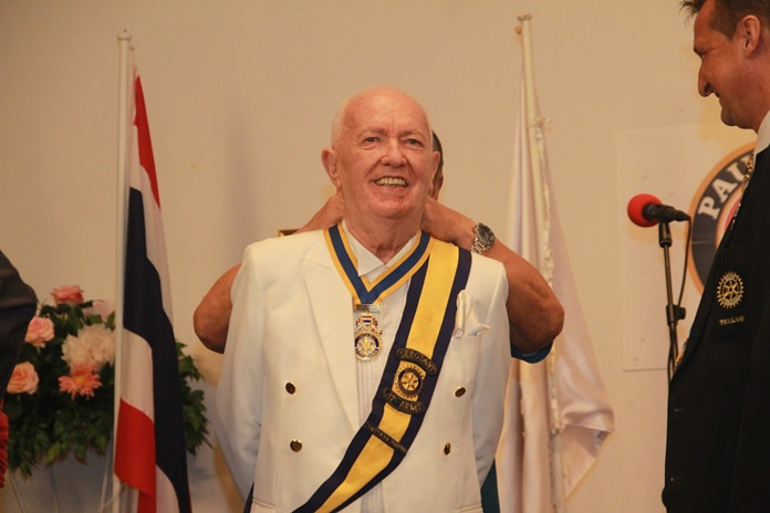 Pierre Yves Eraud is installed as president of the Rotary Club of Pattaya Marina.