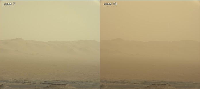 This combination of images made by NASA's Curiosity rover shows the rim of the Gale Crater on June 7 and 10, 2018 during a major dust storm. The Opportunity rover, which is inside the crater, has fallen silent as the storm blots out the sun. (NASA/JPL-Caltech/MSSS via AP)