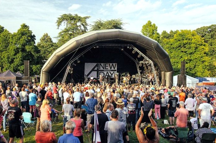 Crowds flock to the stage at the New Day Festival in Kent, southern England.
