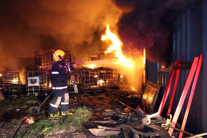 Fire gutted a Khao Maikaew warehouse, causing 2 million baht in damage.