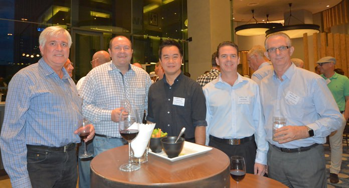 (L to R) Frank Holzer, Executive General Manager of MHG Thailand Co., Ltd., Brendan Cunningham AustCham Thailand, with Patrick Lang, Paul Monger and Mike Griffis from Harrington Industries Thailand.