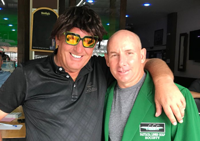 Tommy Marshall (right) with wig-wearer Phil Davies.