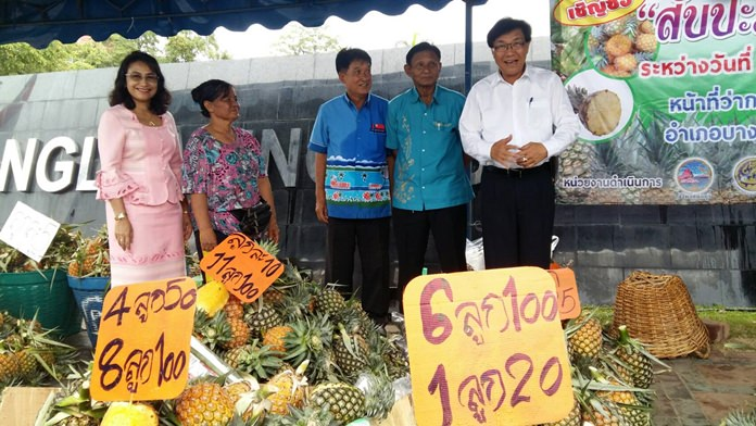 Deputy Gov. Chaichan Iamcharoen has revived a campaign to promote sales of Sriracha pineapples as prices for the country's signature fruit have plummeted due to oversupply.