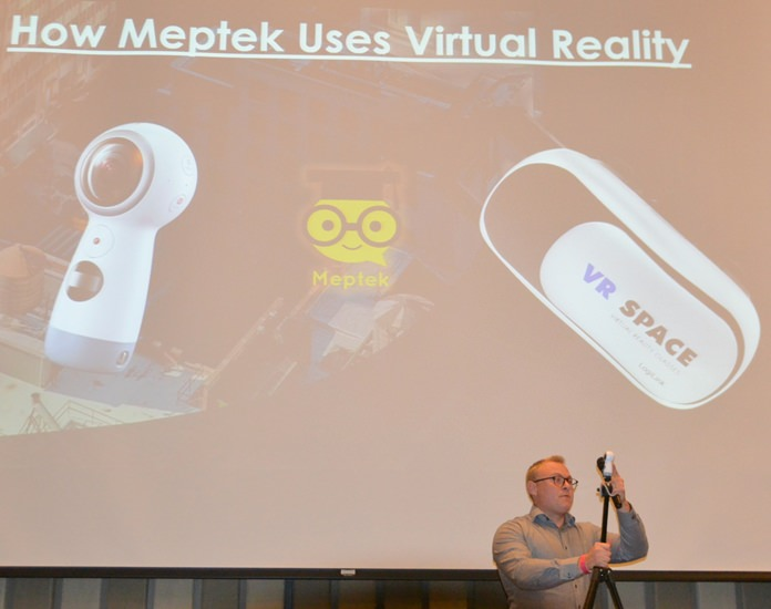 Jakob Friis explains how his company Meptek uses a 360 degree camera and Virtual Reality goggles to improve their student's ability to give better presentations.