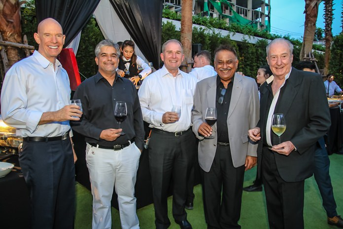 Mark Hudson, Tony Malhotra, Robert Rijnders, Senior Vice President of ONYX Hospitality Group and Area General Manager of Pattaya, Peter Malhotra and Dr. Iain Corness enjoy the lavish setup catered by the Amari Pattaya.