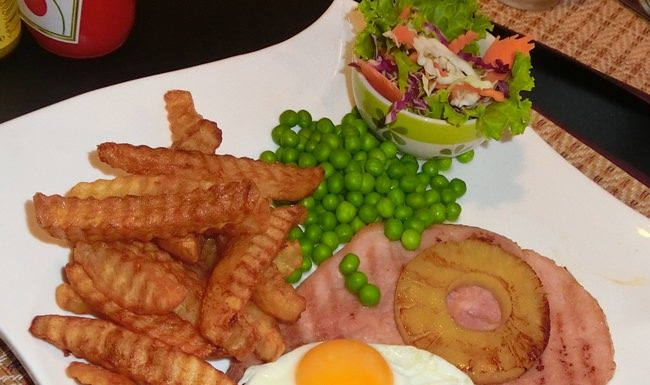 Gammon steak fills the plate and the belly.